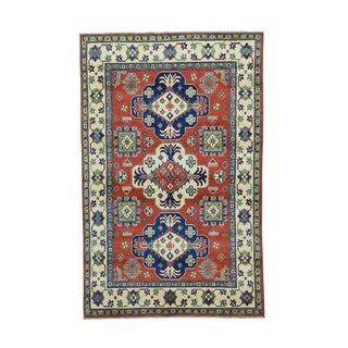 Red Kazak Tribal And Geometric Design Hand-knotted Rug (5' x 8')
