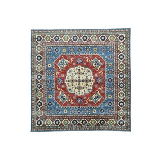Hand-knotted Square Geometric Multicolored Wool Kazak Rug (7'10 x 8'1)