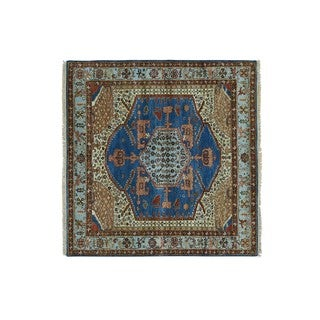 Antiqued Bakshaish Natural Dyes Square Hand-knotted Rug (5' x 5')