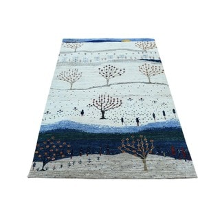 Modern Gabbeh Pictorial Design Hand-knotted Pure Wool Rug (3' x 5')