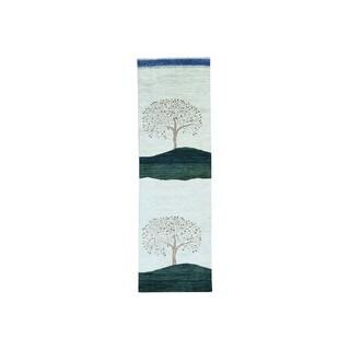 Pure Wool Modern Folk Art Gabbeh Hand-knotted Runner Rug (2'6 x 7'10)