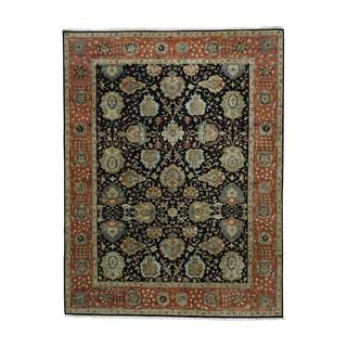Black Vegetable Dyes Dense Weave Mahal Rug (9' x 11'8)