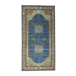 Blue/Multicolor Wool/Natural Dyes Antiqued Bakshaish Handmade Rug (8' x 15'7)