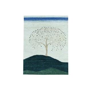 Pure Wool Modern Folk Art Gabbeh Hand-knotted Rug (4'10 x 6'6)