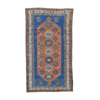Antique Caucasian Kazak Good Condition Wide Runner Handmade Rug (3'10 x 7')