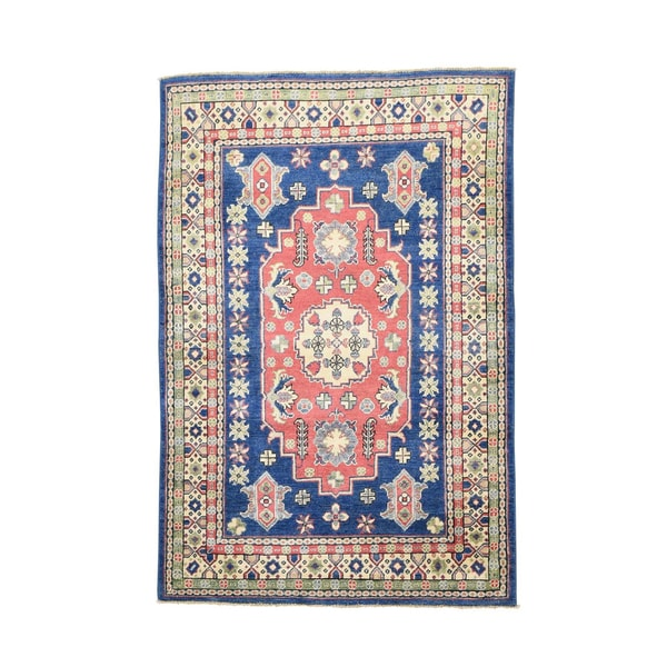 Kazak Tribal Design Red/Green/Grey/Blue/Beige Wool Hand-knotted Rug (4' x 5'10)
