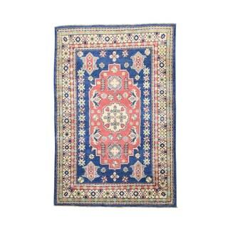 Kazak Tribal Design Red/Green/Grey/Blue/Beige Wool Hand-knotted Rug (4' x 5'10)