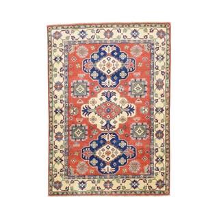 Tribal And Geometric Design Kazak Hand-knotted Rug (4'2 x 5'9)