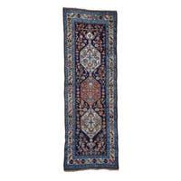 Antique Persian Bidjar Wide Runner Handmade Rug