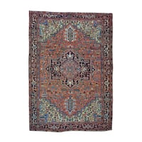 Hand-knotted Antique Persian Heriz Exc Cond Rug (7'1 x 10'2)