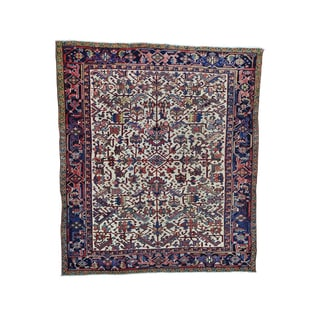 Squarish Antique Persian Heriz Multicolored Wool Hand-knotted Rug (7'3 x 8'6)