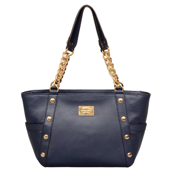 4b7b79a3eb7e ... netherlands shop michael kors medium delancy navy leather shoulder tote  bag free shipping today overstock 12023443