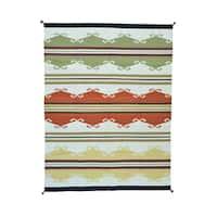 Multicolored Pure Wool Flatweave Design Handwoven Rug - 9'2 x 12'