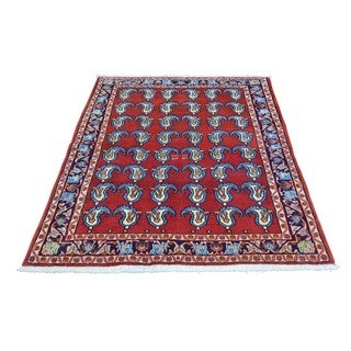 Hand-knotted Paisley Design Sarouk Pure Wool Rug (3'7 x 5')