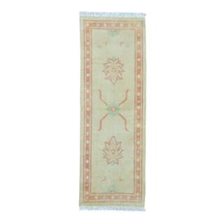 Beige Pure Wool Oushak Dense-weave Runner Rug (2'7 x 7'3)