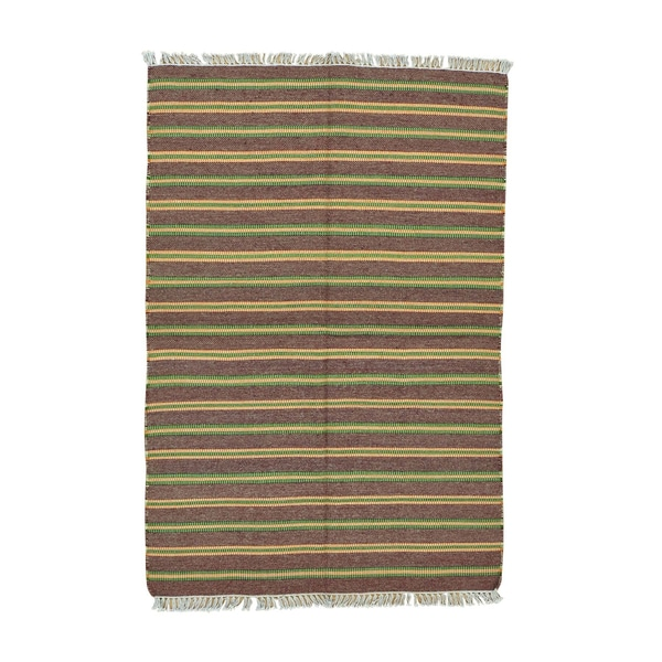 Striped Durie Kilim Flatweave Multicolored Wool Handwoven Rug - 4'5 x 6'6