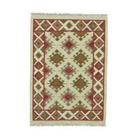 Anatolian Kilim Hand-woven Flatweave Pure Wool Beige Rug (4'3 x 6')