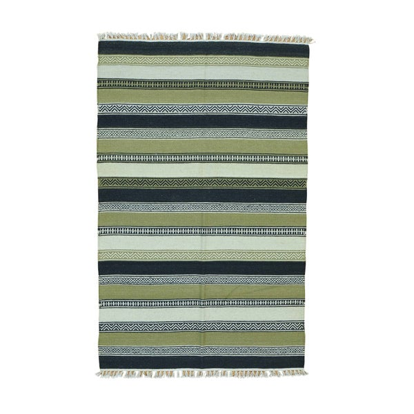 Pure Wool Hand-woven Striped Durie Kilim Flatweave Rug (3'10 x 6'1) - Multi