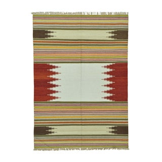 Pure Wool Colorful Durie Kilim Flatweave Hand Woven Rug (5'8 x 8')
