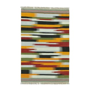 Hand-woven Striped Durie Kilim Flatweave Pure Wool Rug (4' x 6'2)