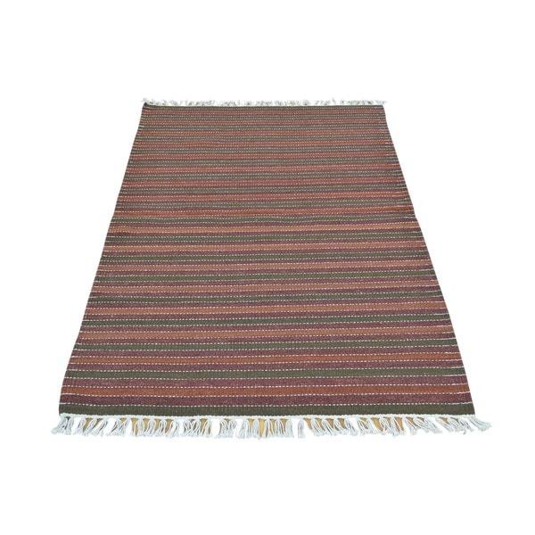 Pure Wool Handwoven Striped Dhurrie Kilim Flatweave Rug (3' x 4'10) - 3' x 4'10