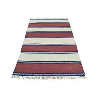 Pure Wool Striped Durie Kilim Hand-woven Flatweave Rug (3'1 x 5'2)