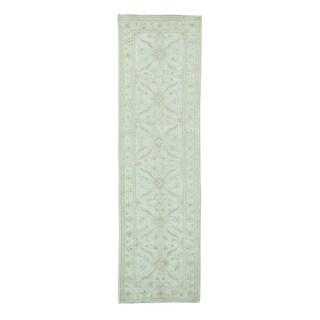 White Wash Wool Peshawar Runner Hand-knotted Rug (3' x 10'1)