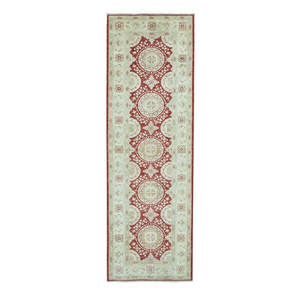 Pure Wool Red Peshawar Runner Hand-knotted Rug (3'2 x 9'10)