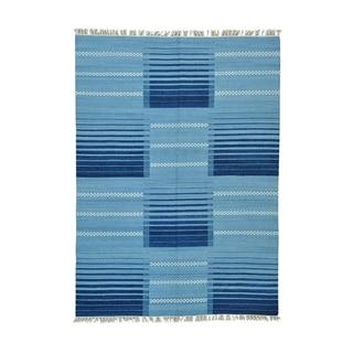 Flatweave Hand-woven Reversible Durie Kilim Pure Wool Rug (5'7 x 7'9)