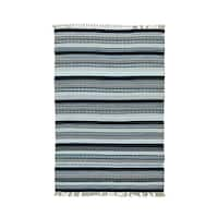 Hand-woven Striped Durie Kilim Flatweave Pure Wool Rug (4' x 6') - Multi