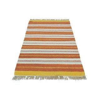 Pure Wool Handwoven Dhurrie Kilim Striped Rug (2'10 x 4'9)