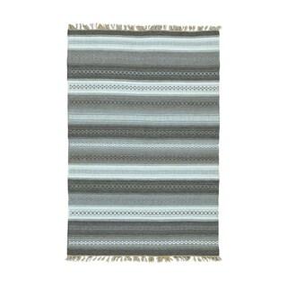 Pure Wool Flatweave Striped Durie Kilim Hand-woven Rug (4' x 6')