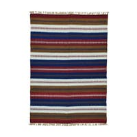 Handwoven Reversible Multicolored Wool Rug - 5'8 x 8'