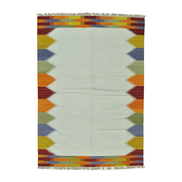 Ivory Pure Wool Durie Kilim Flatweave Hand-woven Rug (5'5 x 7'10)