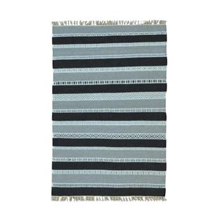 Pure Wool Dhurrie Kilim Striped Flatweave Handwoven Rug (4' x 6')