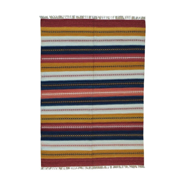 Handwoven Striped Kilim Flatweave 100-percent Wool Rug - 5'5 x 7'9
