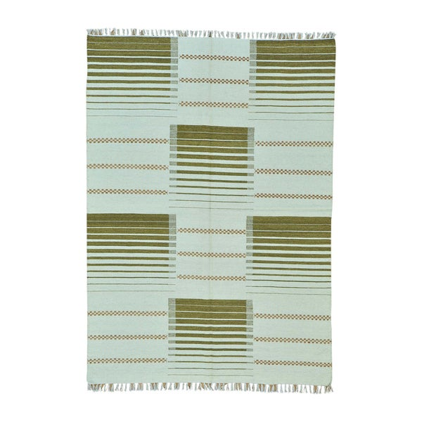 Pure Wool Hand-woven Durie Kilim Striped Flatweave Rug (5'7 x 8')
