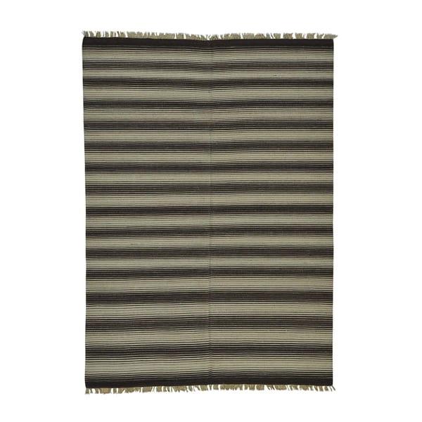 Pure Wool Striped Durie Kilim Flatweave Reversible Rug (5'6 x 7'9)