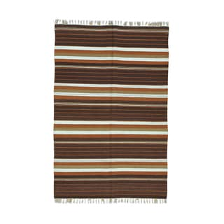 Multicolored Wool Flatweave Striped Durie Kilim Hand Woven Rug (4' x 6'1)