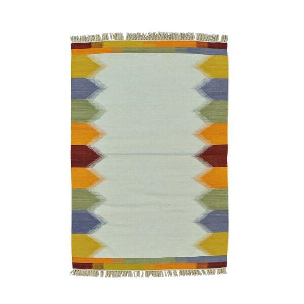 Pure Wool Flatweave Ivory Durie Kilim Hand-woven Rug (4' x 6')