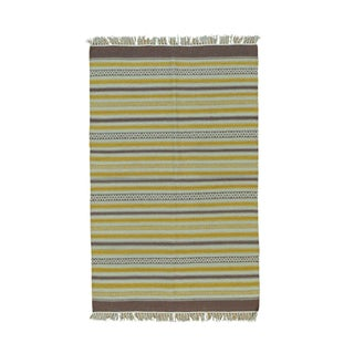 Flatweave Reversible Hand-woven Durie Kilim Striped Rug (3'10 x 6'1)