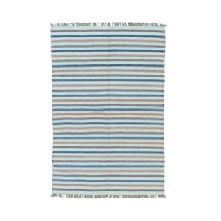 Handwoven Dhurrie Kilim Striped Flatweave Rug (4'7 x 6'8)