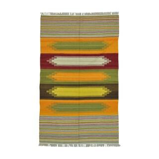 Multicolored Wool Durie Kilim Flatweave Handwoven Rug (5'1 x 8'3)
