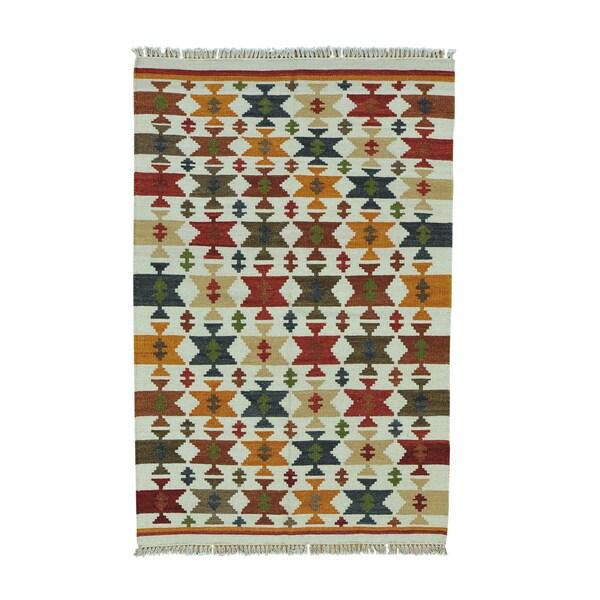 Colorful Anatolian Kilim Reversible Flatweave Handmade Rug - 4'1 x 6'4