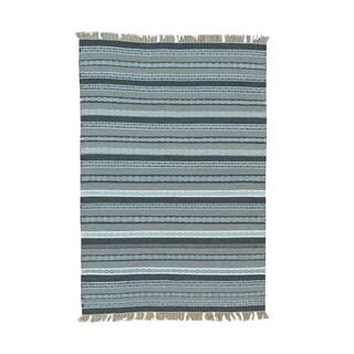 Pure Wool Striped Flatweave Durie Kilim Hand-woven Rug (4'1 x 6')
