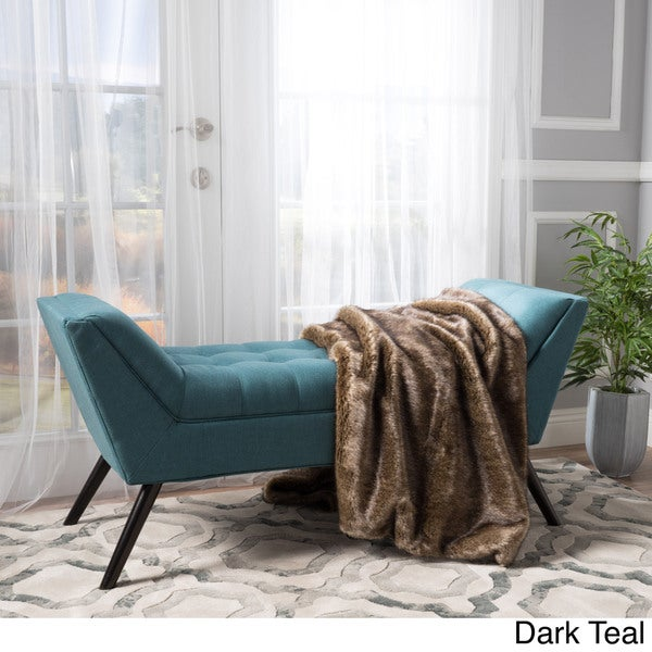 Demi Tufted Fabric Ottoman Bench By Christopher Knight Home   Dark Teal by Christopher Knight Home