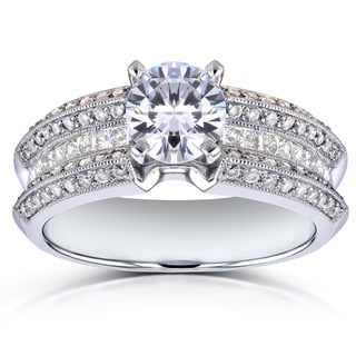 Annello by Kobelli 14k White Gold Certified 1 5/8ct TDW Round Diamond Wide Multi-row Engagement Ring