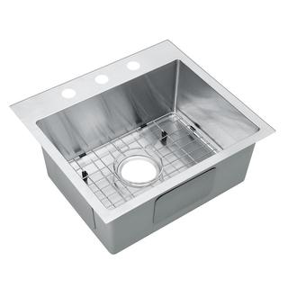 Starstar Silver-colored Stainless Steel 25-inch 16-gauge Single-bowl Kitchen Sink with Accessories