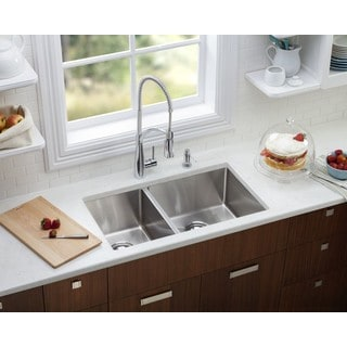 Starstar Silver Stainless Steel 32.75-inch x 20-inch Double Bowl Undermount Kitchen Sink
