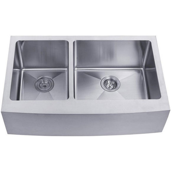 Stainless Steel Double Farmhouse Sink : ... Stainless Steel Double-bowl Farmhouse Apron Undermount Kitchen Sink